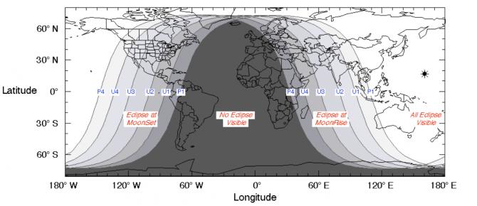 이번 월식을 관측할 수 있는 지역. 진한 회색으로 표시된 부분을 제외하고는 관측이 가능합니다. - NASA 제공